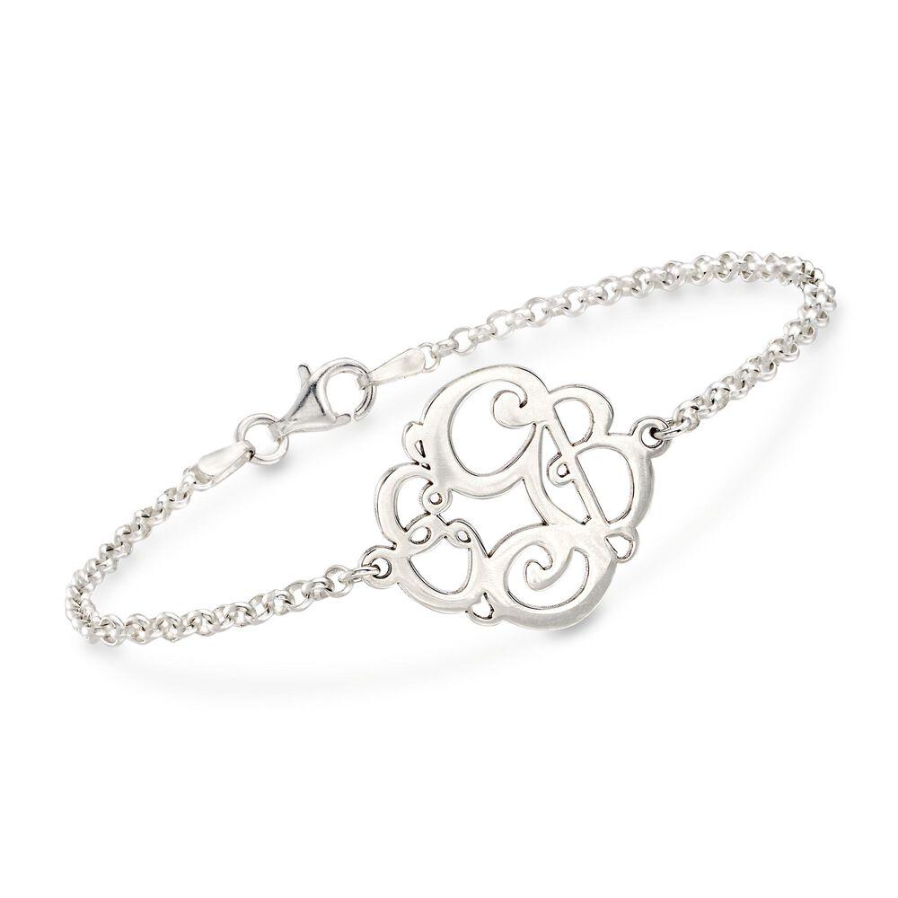 Sterling Silver Script Monogram Rolo Chain Bracelet Default