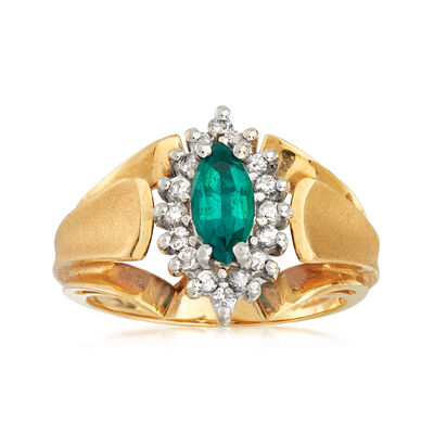 C. 1980 Vintage .35 Carat Synthetic Emerald and .25 ct. t.w. Diamond Ring in 14kt Yellow Gold, , default