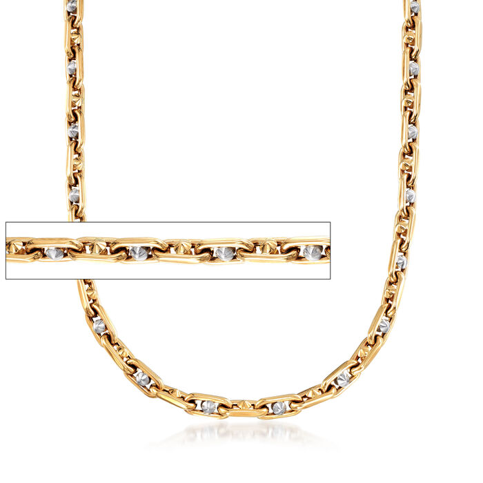 "Men's 14kt Two-Tone Gold Oval Chain Link Necklace. 22"", , default"
