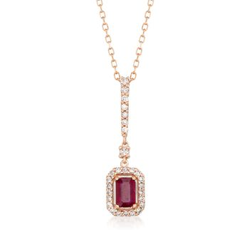 ".60 Carat Ruby and .33 ct. t.w. Diamond Pendant Necklace in 14kt Rose Gold. 16"", , default"