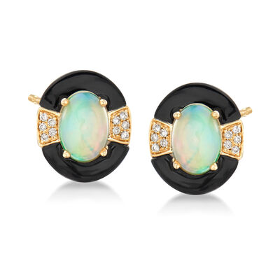 Opal and Black Onyx Earrings with Diamond Accents in 14kt Yellow Gold