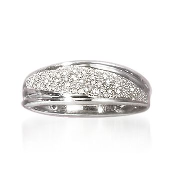 .25 ct. t.w. Pave Diamond Striped Ring in Sterling Silver, , default