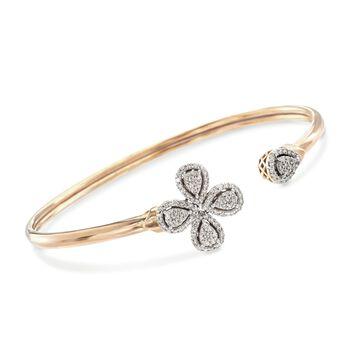 ".68 ct. t.w. Diamond Flower Cuff Bracelet in 14kt Gold Over Sterling. 8"", , default"