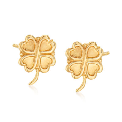 14kt Yellow Gold Four-Leaf Clover Stud Earrings