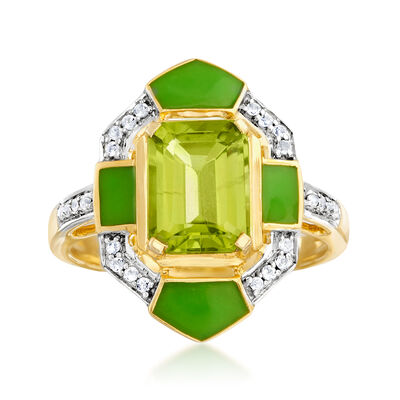 2.20 Carat Peridot and .10 ct. t.w. White Topaz Ring in 18kt Gold Over Sterling with Green Enamel