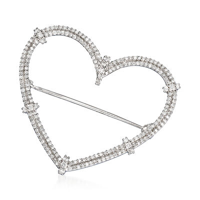 1.00 ct. t.w. Diamond Heart Pin in Sterling Silver, , default