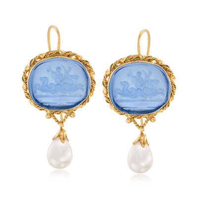 Italian Cultured Pearl and Blue Venetian Glass Drop Earrings in 18kt Gold Over Sterling, , default