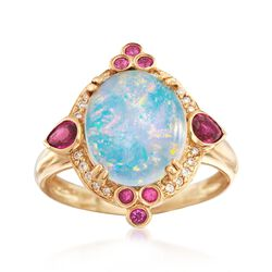 Ethiopian Opal and .40 ct. t.w. Ruby Ring With Diamond Accents in 14kt Yellow Gold, , default