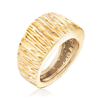 Italian Textured 14kt Yellow Gold Dome Ring