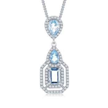 "3.00 ct. t.w. Blue and White Topaz Pendant Necklace in Sterling Silver. 17.25"", , default"
