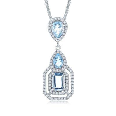 3.00 ct. t.w. Blue and White Topaz Pendant Necklace in Sterling Silver, , default