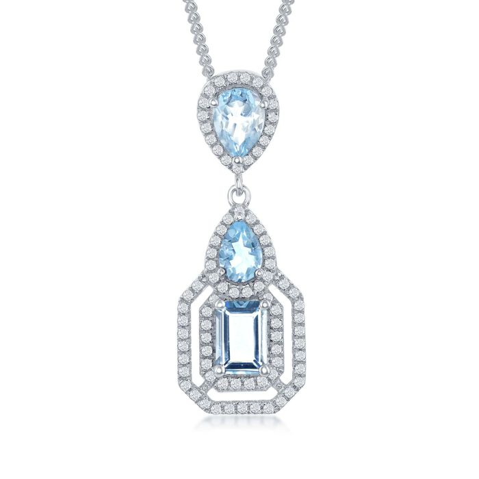 """3.00 ct. t.w. Blue and White Topaz Pendant Necklace in Sterling Silver. 17.25"""", , default"""