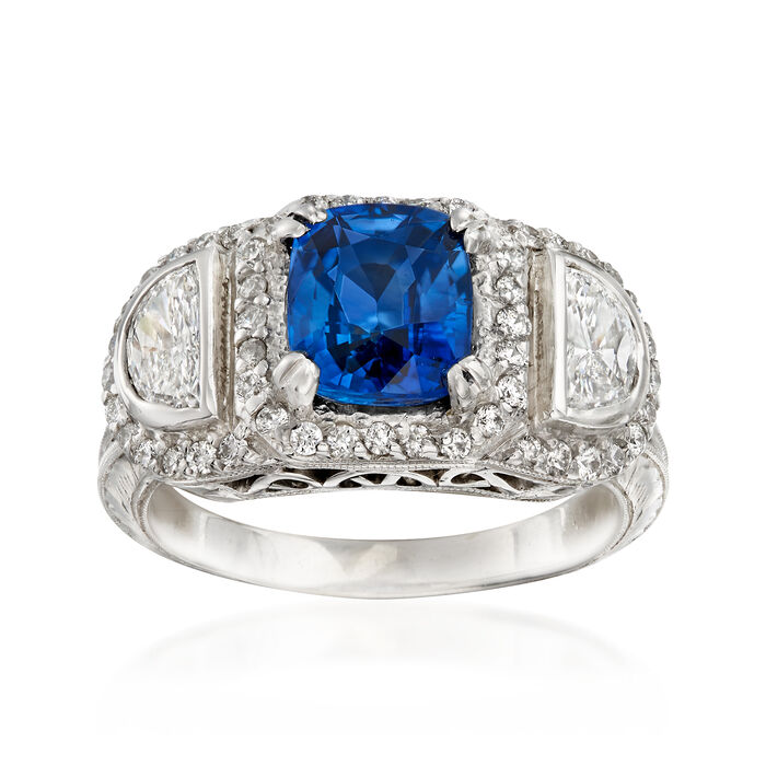 C. 1990 Vintage 1.70 Carat Sapphire and 1.00 ct. t.w. Diamond Ring in 14kt White Gold. Size 5