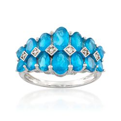 3.70 ct. t.w. Apatite Ring With Diamond Accents in Sterling Silver, , default
