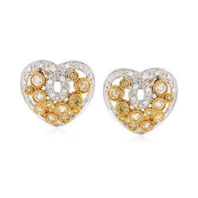 C. 1990 Vintage .85 ct. t.w. Yellow and White Diamond Heart Earrings in 18kt Two-Tone Gold, , default