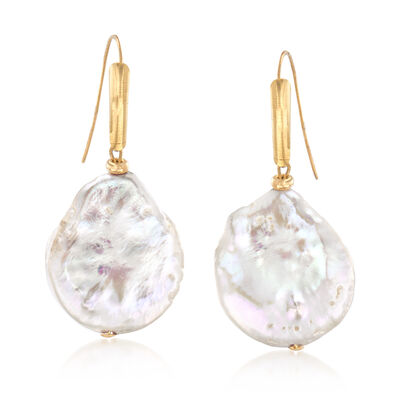 18-19mm Cultured Coin Pearl Drop Earrings in 14kt Yellow Gold, , default