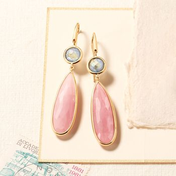 Italian Pink Chalcedony and Labradorite Drop Earrings in 18kt Yellow Gold, , default