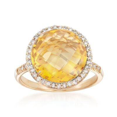 8.00 Carat Citrine and .28 ct. t.w. Diamond Ring in 14kt Yellow Gold, , default