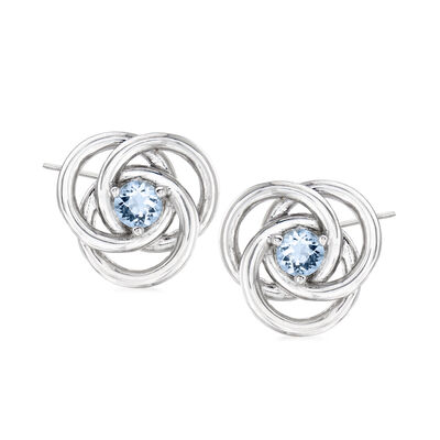 .30 ct. t.w. Aquamarine Love Knot Earrings in Sterling Silver, , default