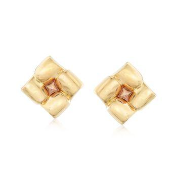 C. 1980 Vintage 18kt Two-Tone Gold Square Floral Earrings , , default