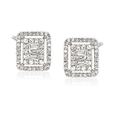 .40 ct. t.w. Baguette and Round Diamond Earrings in 18kt White Gold