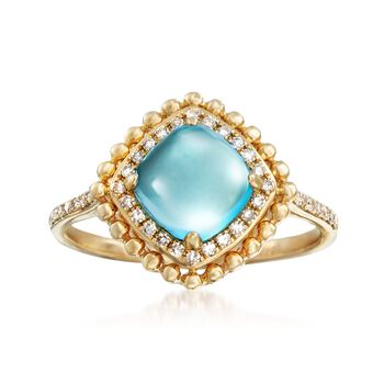 2.30 Carat Blue Topaz and .15 ct. t.w. Diamond Ring in 14kt Yellow Gold, , default