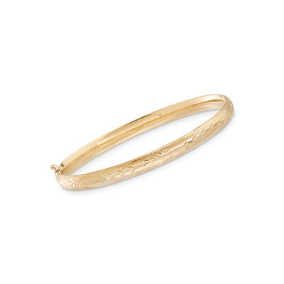 Baby's 14kt Yellow Gold Floral Bangle Bracelet, , default