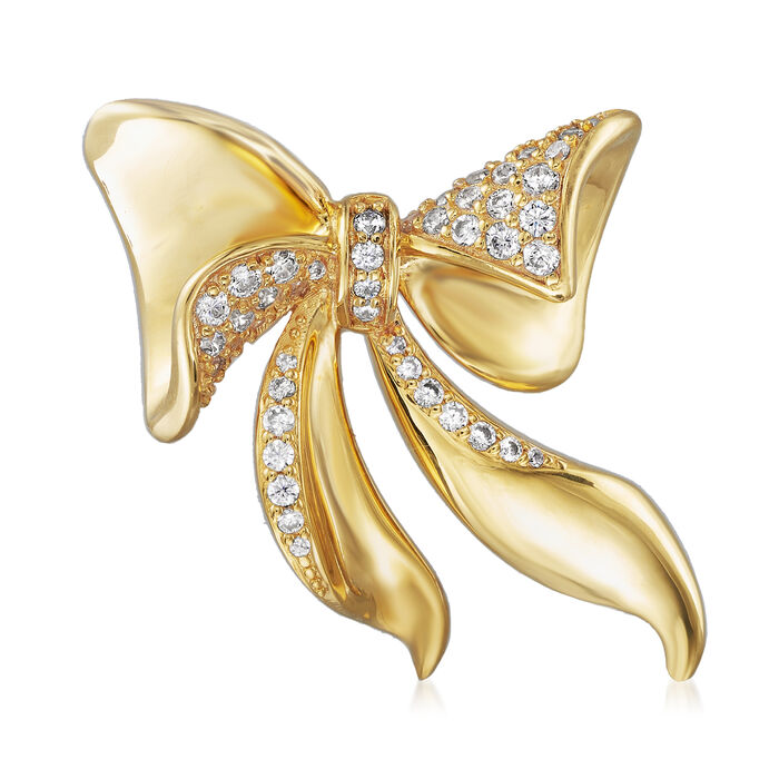 .55 ct. t.w. CZ Bow Pin in 18kt Gold Over Sterling, , default