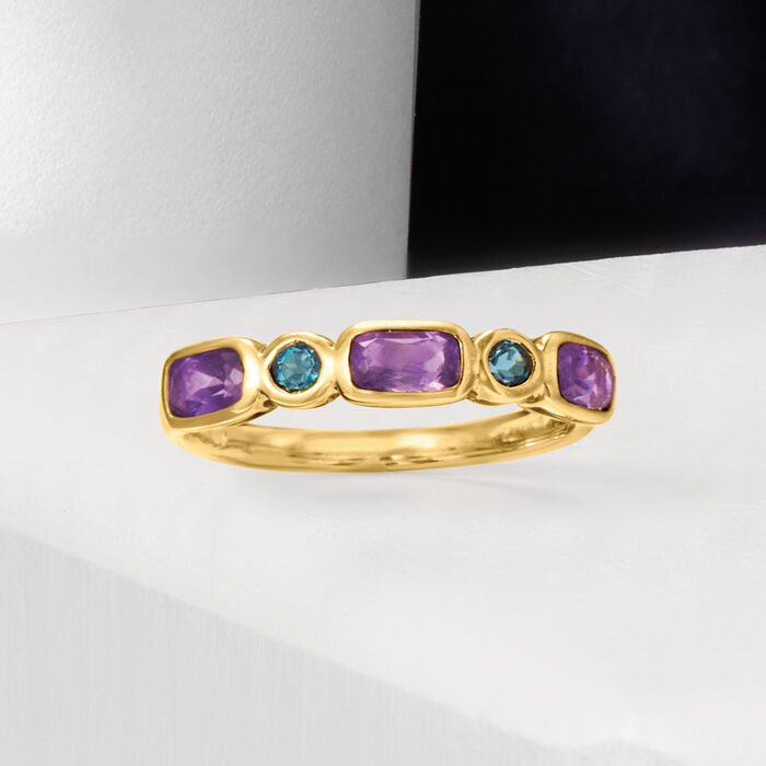 .70 ct. t.w. Amethyst and .10 ct. t.w. London Blue Topaz Ring in 14kt Yellow Gold