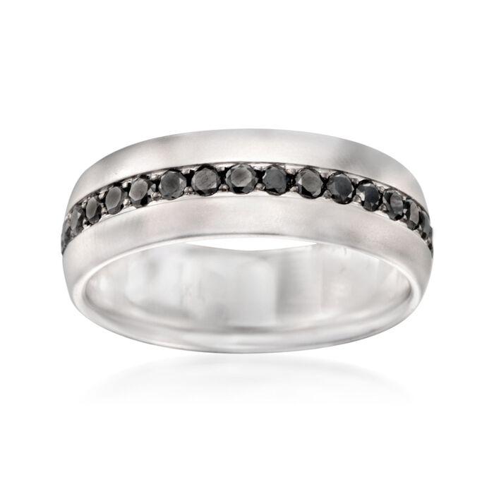 Henri Daussi Men's 1.15 ct. t.w. Black Diamond Wedding Ring in 14kt White Gold. Size 10, , default