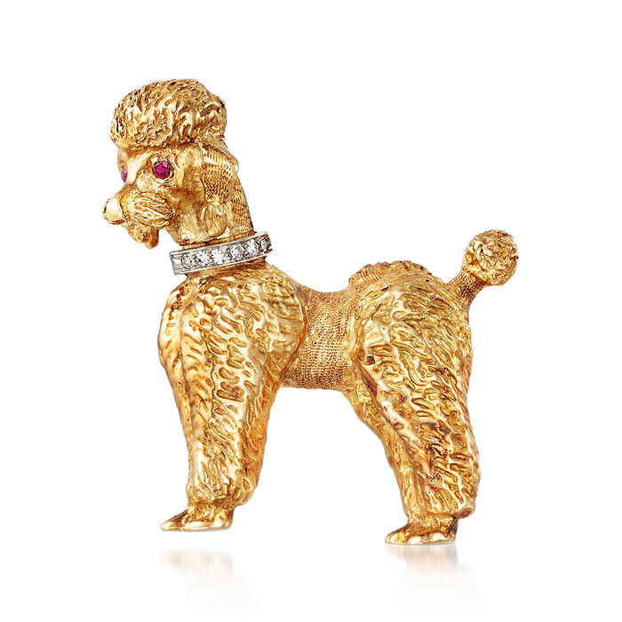 C. 1970 Vintage 18kt Yellow Gold Poodle Pin with Diamond and Ruby Accents