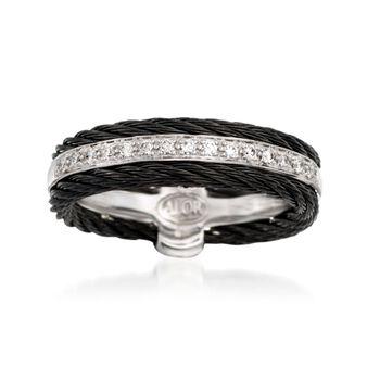 "ALOR ""Noir"" .12 ct. t.w. Diamond Black Cable Ring With 18kt White Gold. Size 7, , default"