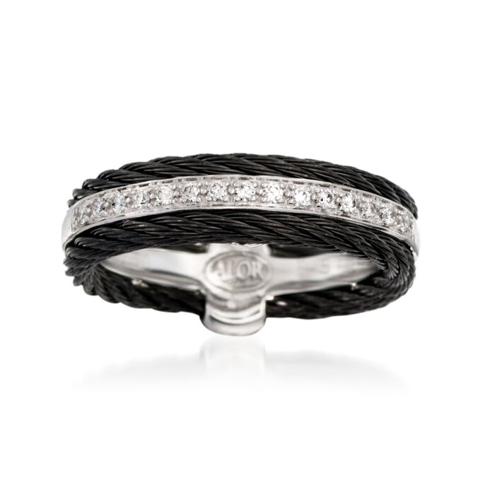 "ALOR ""Noir"" .12 ct. t.w. Diamond Black Cable Ring with 18kt White Gold. Size 7, , default"
