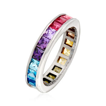 3.00 ct. t.w. Multicolored CZ Eternity Band in Sterling Silver. Size 5