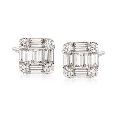 1.12 ct. t.w. Diamond Mosaic Earrings in 18kt White Gold, , default