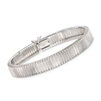 Italian Sterling Silver Diamond-Cut Ribbed Bracelet, , default