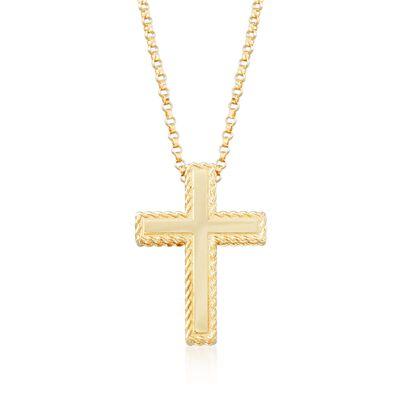 "Roberto Coin ""Princess"" 18kt Yellow Gold Cross Pendant Necklace, , default"