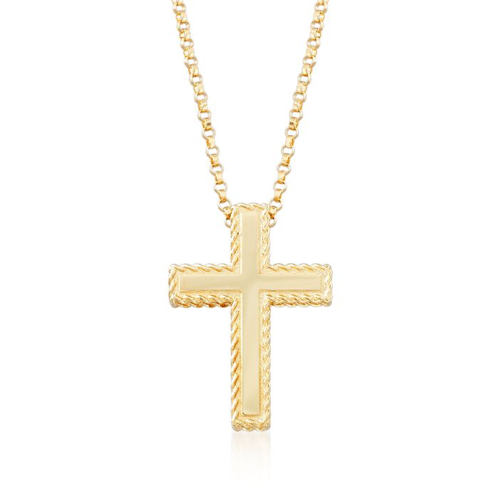 "Roberto Coin ""Princess"" 18kt Yellow Gold Cross Pendant Necklace. 16.75"", , default"