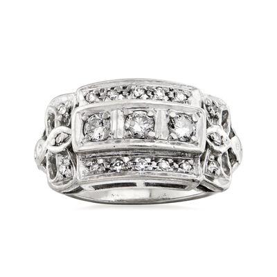 C. 1950 Vintage .40 ct. t.w. Diamond Three-Row Ring in 14kt White Gold, , default