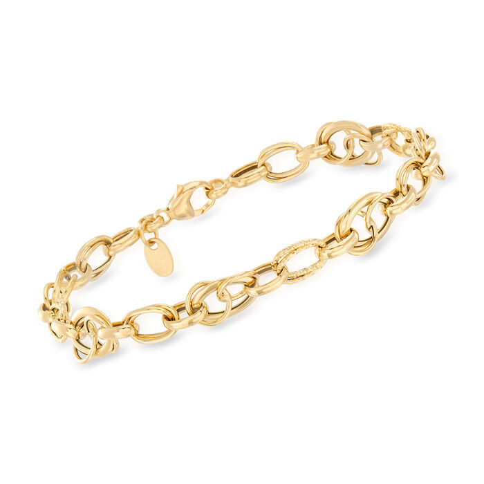 """Italian Textured and Polished Multi-Link Bracelet in 18kt Yellow Gold. 8"""", , default"""