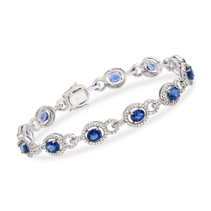 "C. 1990 Vintage 5.40 ct. t.w. Sapphire and 1.15 ct. t.w. Diamond Oval Link Bracelet in 14kt White Gold. 7"", , default"