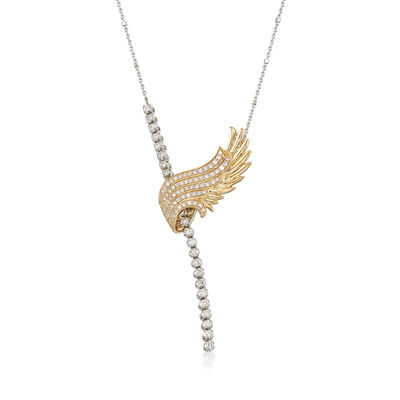 1.00 ct. t.w. Diamond Angel Wing Lariat Necklace in 14kt Two-Tone Gold, , default