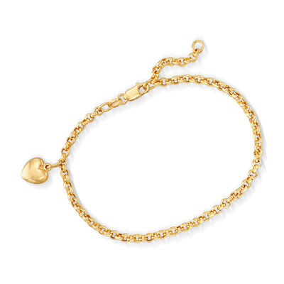 Italian 18kt Yellow Gold Heart Charm Bracelet, , default