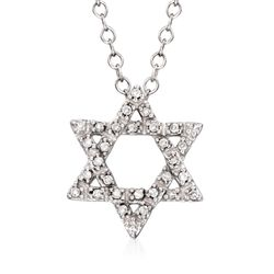"Diamond Accent Star of David Pendant Necklace in 14kt White Gold. 16"", , default"