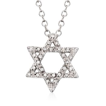"""Diamond Accent Star of David Pendant Necklace in 14kt White Gold. 16"""", , default"""