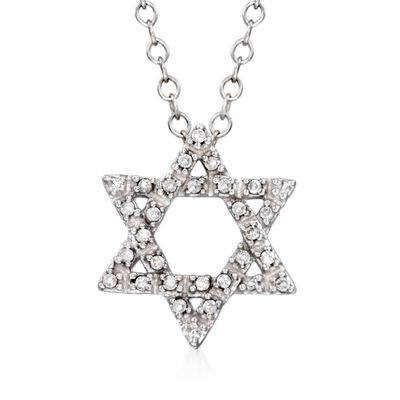Diamond Accent Star of David Pendant Necklace in 14kt White Gold, , default