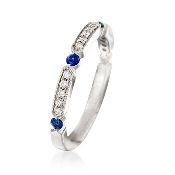 Henri Daussi .21 ct. t.w. Diamond and Sapphire Wedding Ring in 14kt White Gold