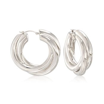"Sterling Silver Overlapping-Style Hoop Earrings. 1 1/2"", , default"