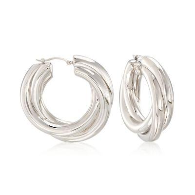 Sterling Silver Overlapping-Style Hoop Earrings, , default