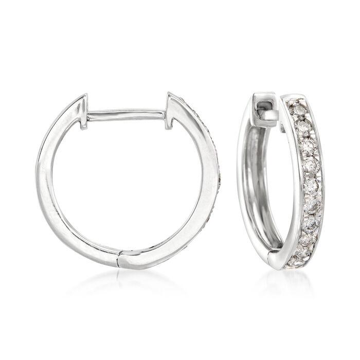 ".25 ct. t.w. Diamond Huggie Hoop Earrings in 14kt White Gold. 1/2"", , default"